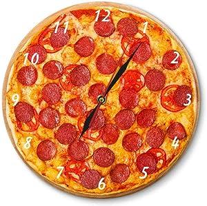 Pepperoni Pizza Food Acrylic Wall Clock Restaurant Decorative Clock Pizzeria Pasta Chef Vintage Gift Clock Watch 30cm