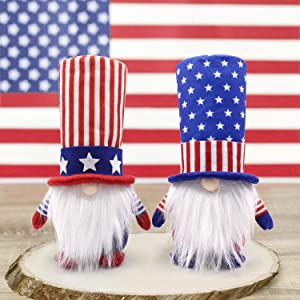 Patriotic Gnome Veterans Day American President Election Decoration Uncle Sam Tomte 4th of July Gift Stars and Stripes Nisse Handmade Scandinavian Ornaments Kitchen Tiered Tray Decorations Set of 2