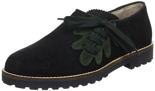 Diavolezza LEAF 5012 - Zapatos de cordones de cuero para mujer, color negro, talla 41