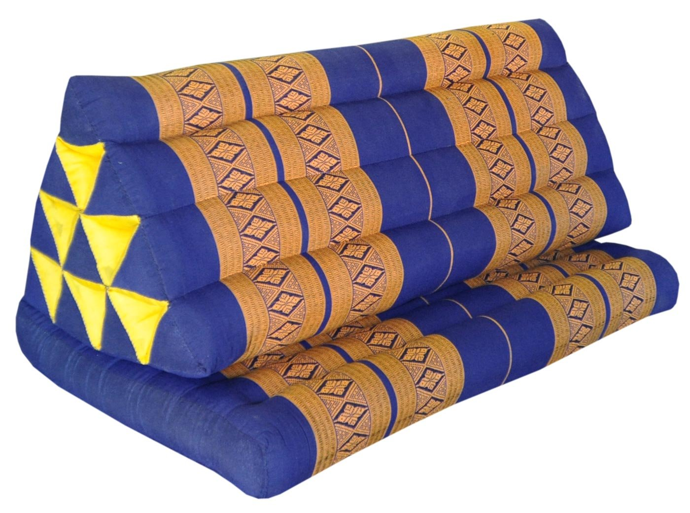 Thai triangle cushion XXL, with 1 folding seat, blue/yellow, sofa, relaxation, beach, pool, meditation, yoga, made in Thailand. (82116) by Wilai GmbH