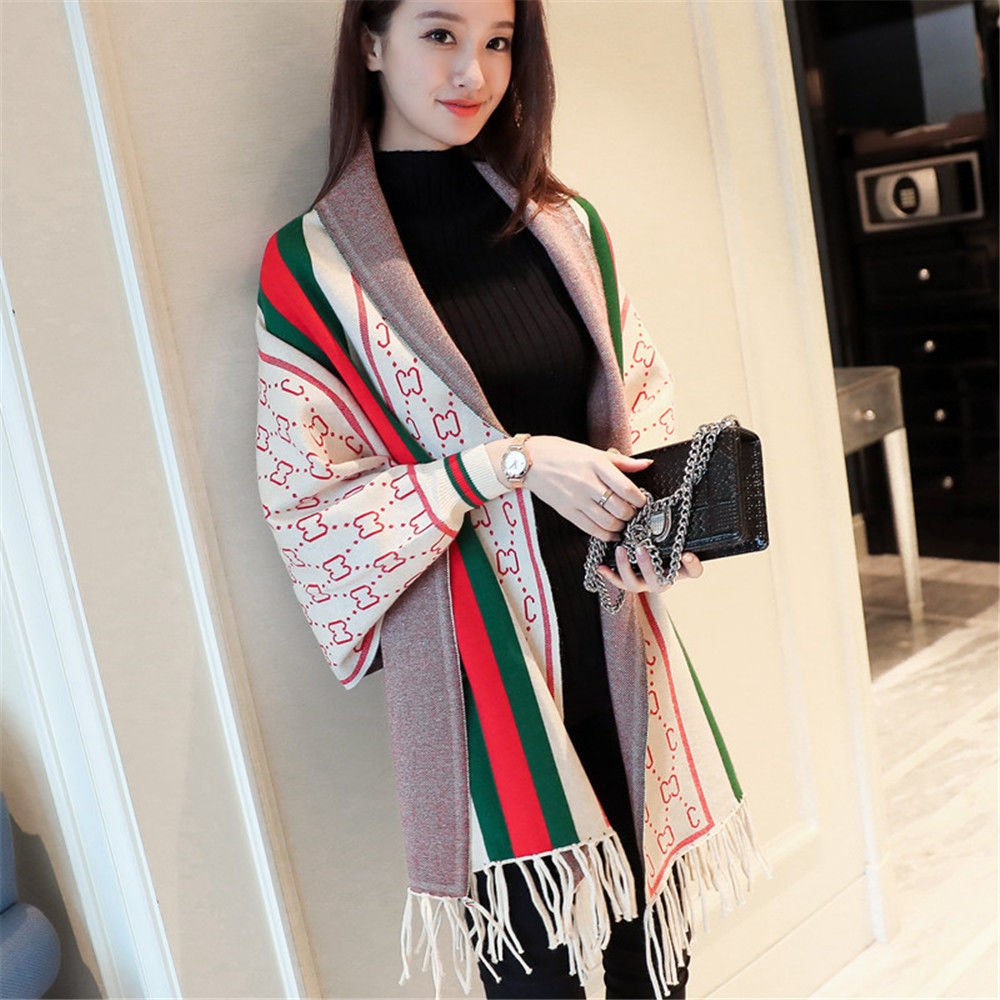 Beige ZHANGYONG Autumn Dress Striped Long Knitting Fringed Hem AllMatch Loose Shawl,F,Beige