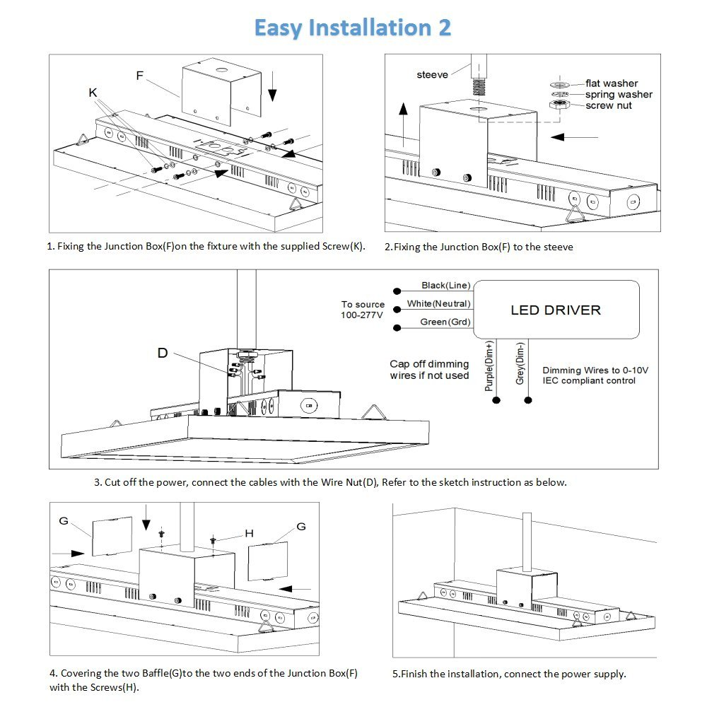 Antlux 2ft Linear Led High Bay Light Fixture 110w 400w T8 Tube Wiring Diagram Free Picture 13200lm 5000k Dimmable Hanging Warehouse Shop Lights Industrial Indoor Workshop Garage Lighting