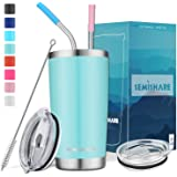SemiShare 20oz Stainless Steel Camping Travel Tumbler with 2 Lids,2 Metal Reusable Straws,Double Wall Vacuum Insulated Travel