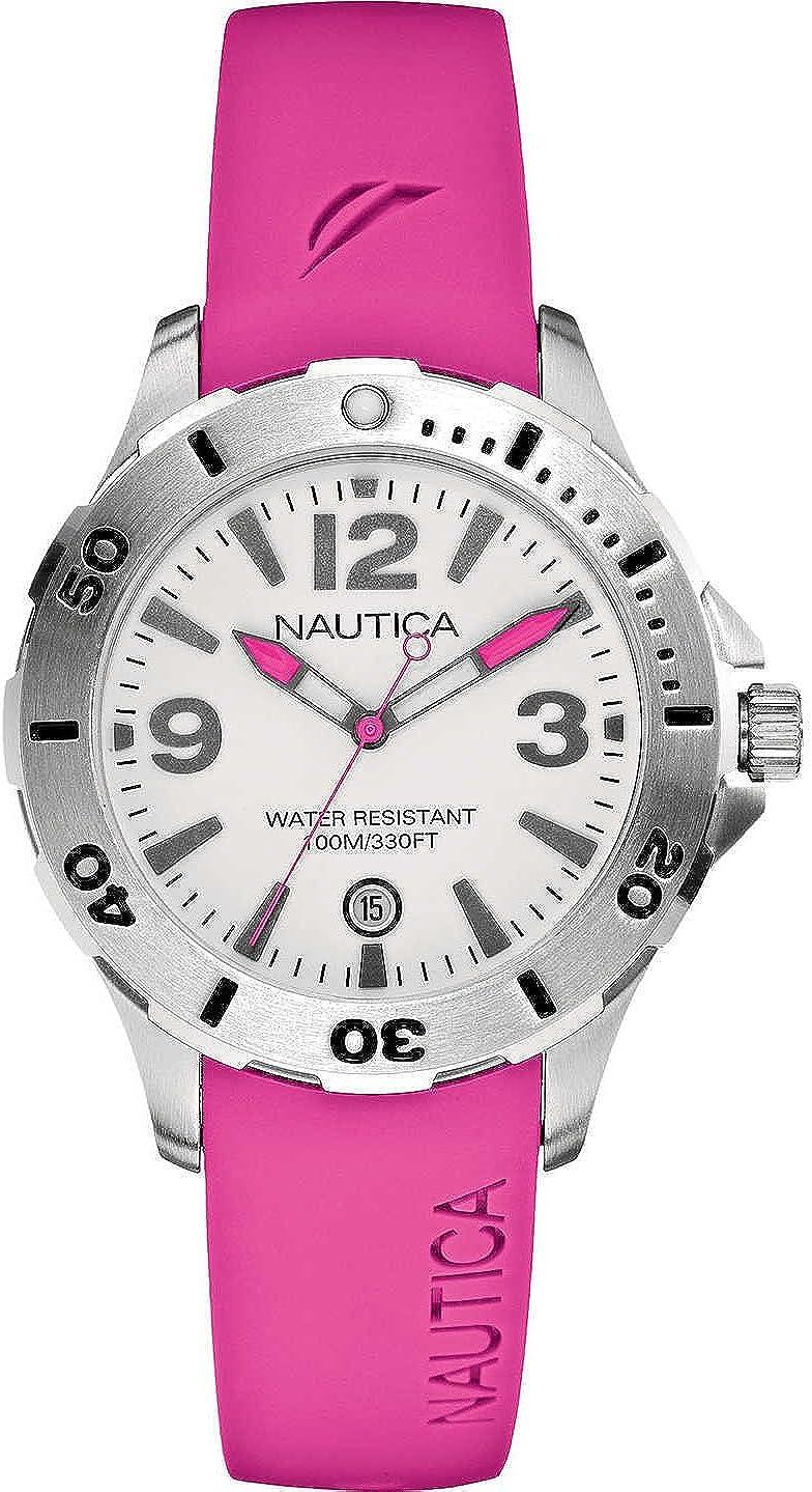 Nautica A11552M - Reloj analógico de Cuarzo para Mujer con Correa de Resina, Color Rosa