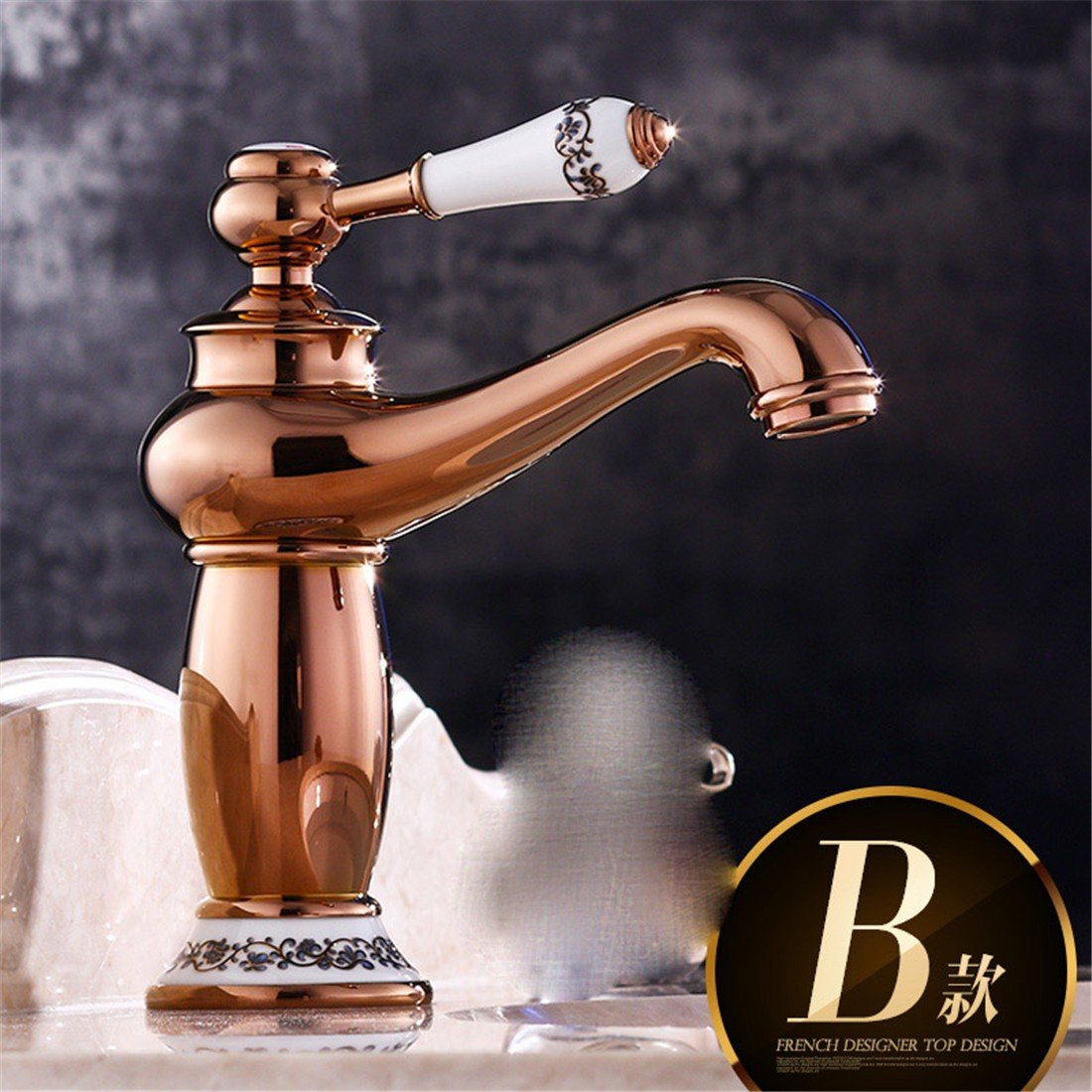 pink gold B Hlluya Professional Sink Mixer Tap Kitchen Faucet Antique basin copper cold water faucet antique porcelain bluee dragon head can be redated, B