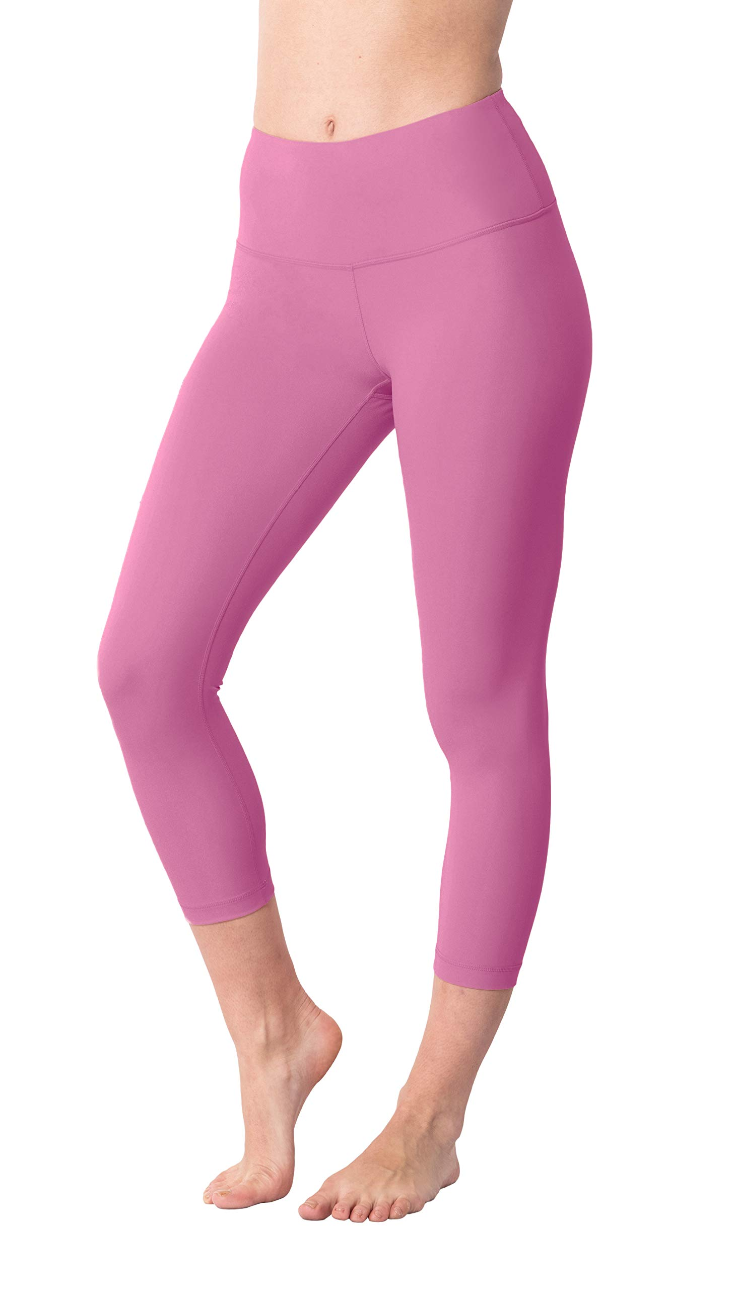 Yogalicious High Waist Ultra Soft Lightweight Capris - High Rise Yoga Pants - Lychee Pink - Medium by Yogalicious