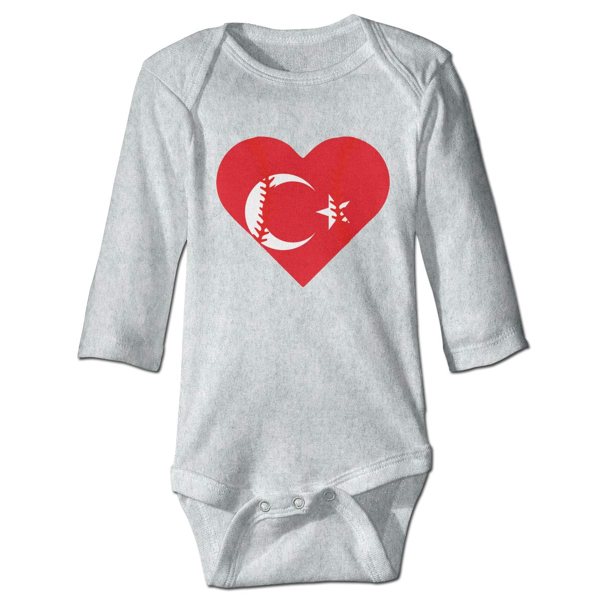 A14UBP Infant Babys Long Sleeve Romper Bodysuit Turkey Flag Baseball Heart Unisex Button Playsuit Outfit Clothes