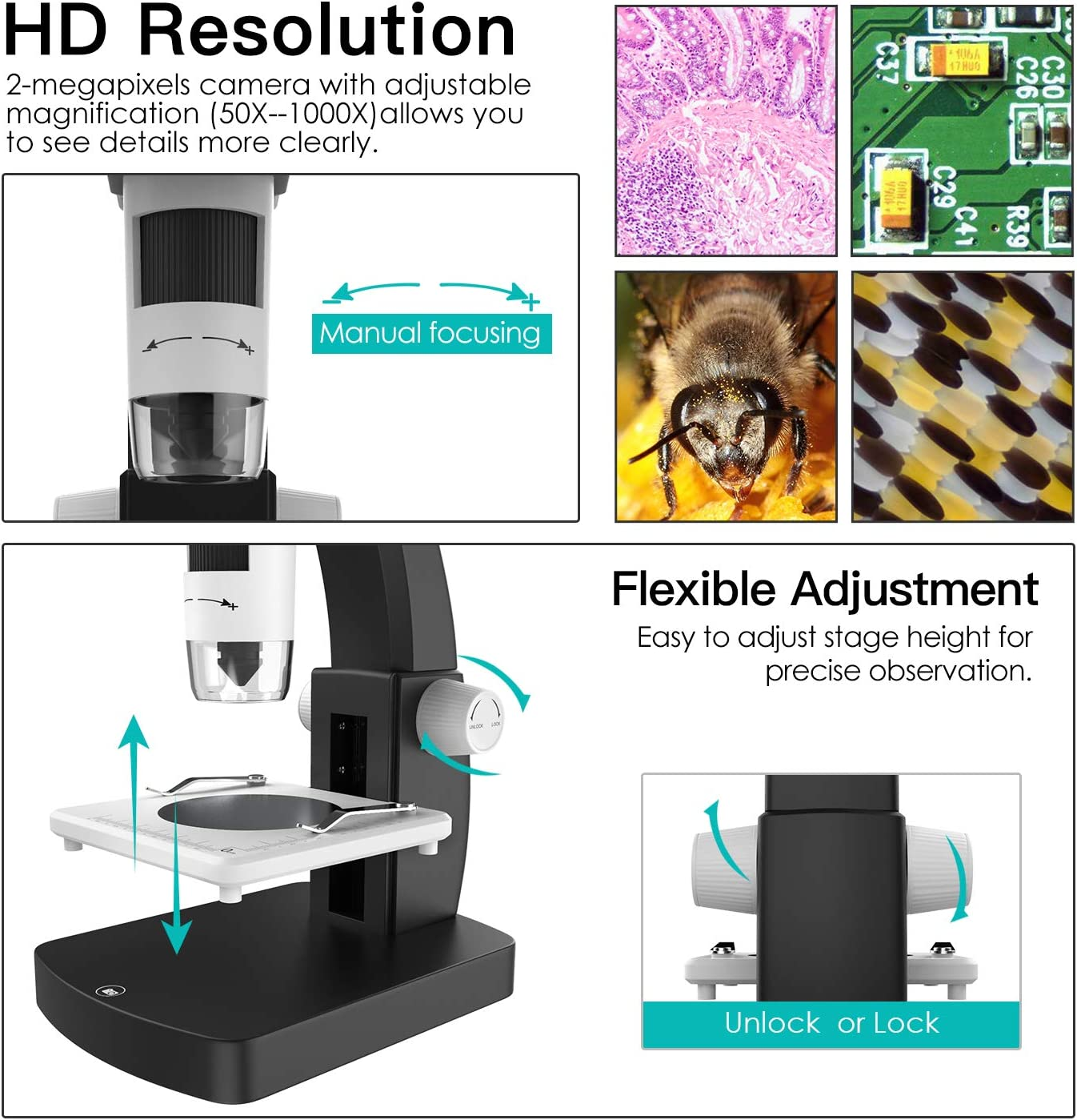 Camera Video Recorder Support Windows /& Mac PC MoKo USB LCD Digital Microscope with 2M HD Image Sensor 50x-1000x Magnification Black /& White 8 LED 4.3 TFT Display Rechargeable Battery