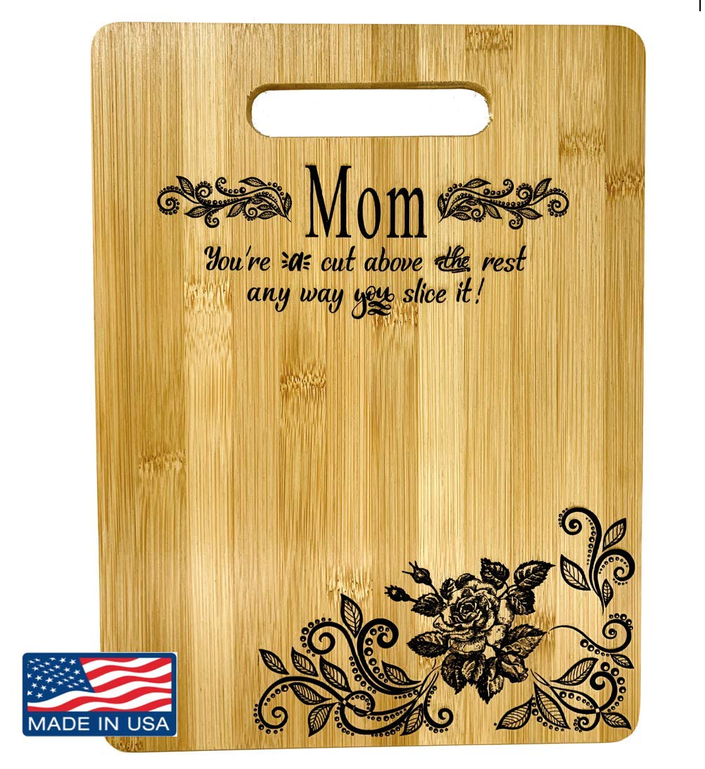 Mother's Gift - Best Mom Bamboo Cutting Board Mom Gift Mothers Day Gift Mom Birthday Christmas Gift Engraved Side For Décor Hanging Reverse Side For Usage (8.75x11.5 Rectangle)