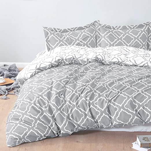 Light Weight and Soft Microfiber Duvet Cover Set,Damask Pattern Winter Duvet Cover,Zipper Closure with Corner Ties,Black and White Bedding,Queen Comforter Cover