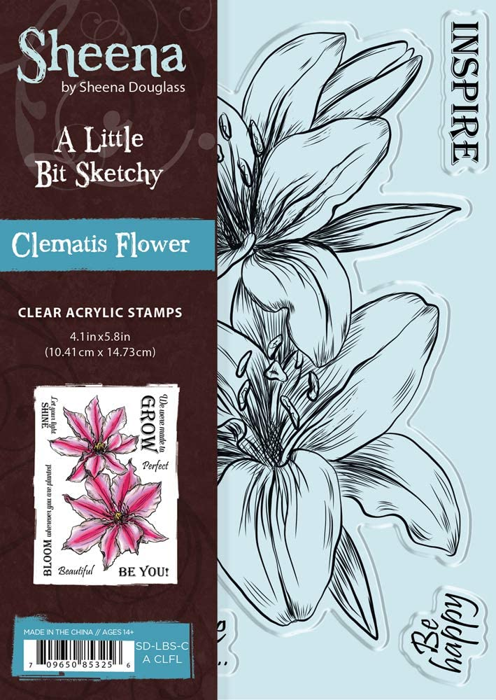 Sheena SD-LBS-CA-CLFL Little Bit Sketchy A6 Clematis Flower Clear Stamp,