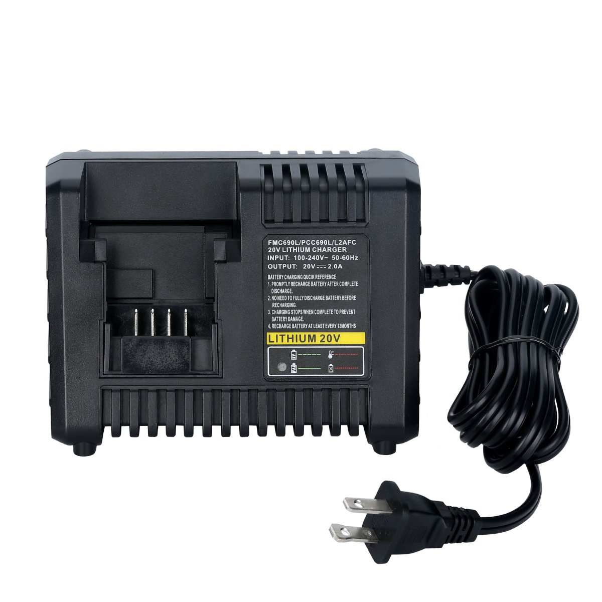 Lasica BDCAC202B 20V Lithium Battery Charger for Black and Decker 20V Lithium-ion Battery and Porter-Cable 20V Lithium-ion Battery LB20 LBX20 LB2X4020 PCC682L PCC600