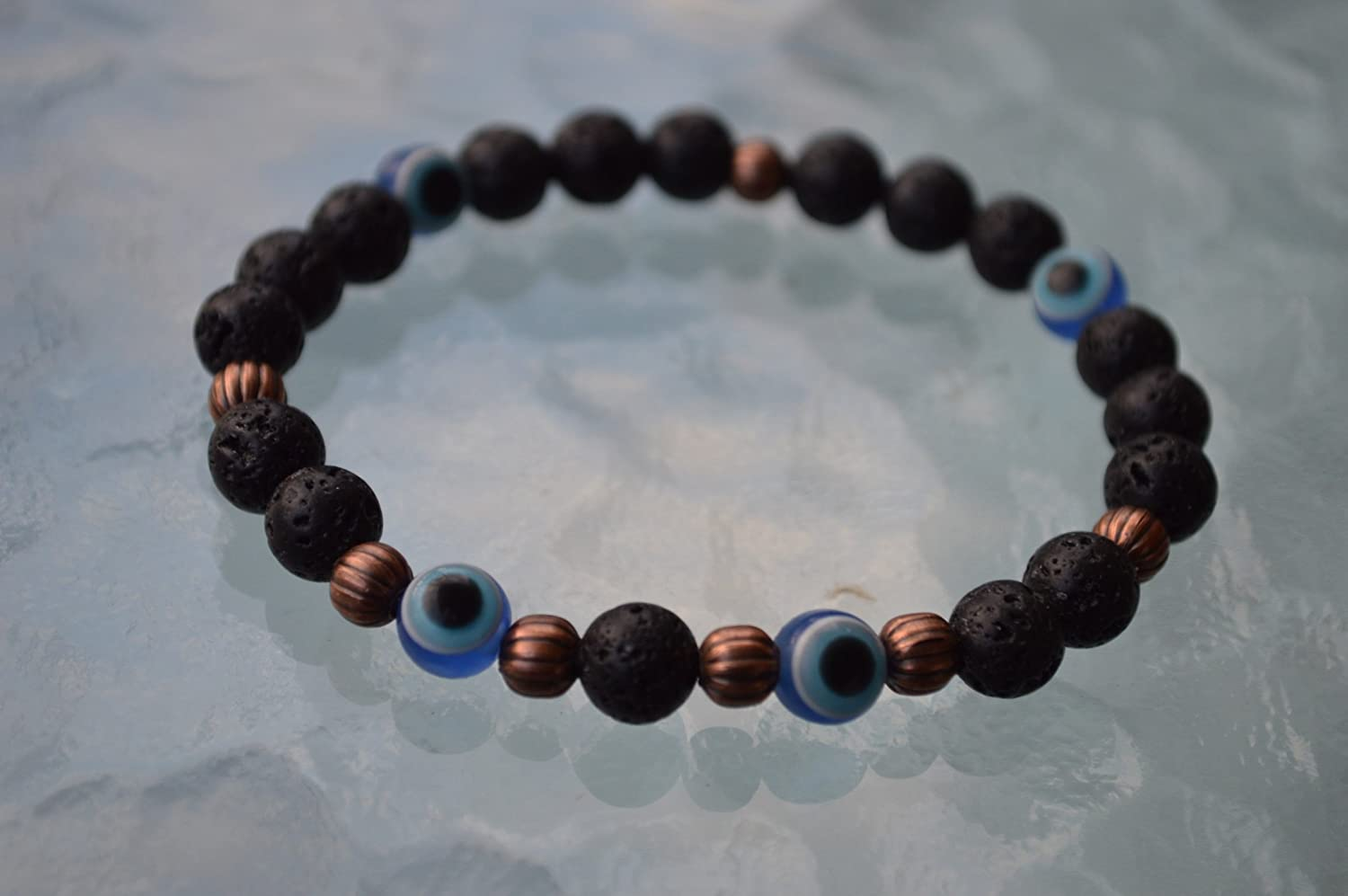 Black Basalt Lava Stone rock & Evil eye men's wrist Mala beads healing bracelet- For energy libido Will power Vitality Desire Social Identity - USA Seller