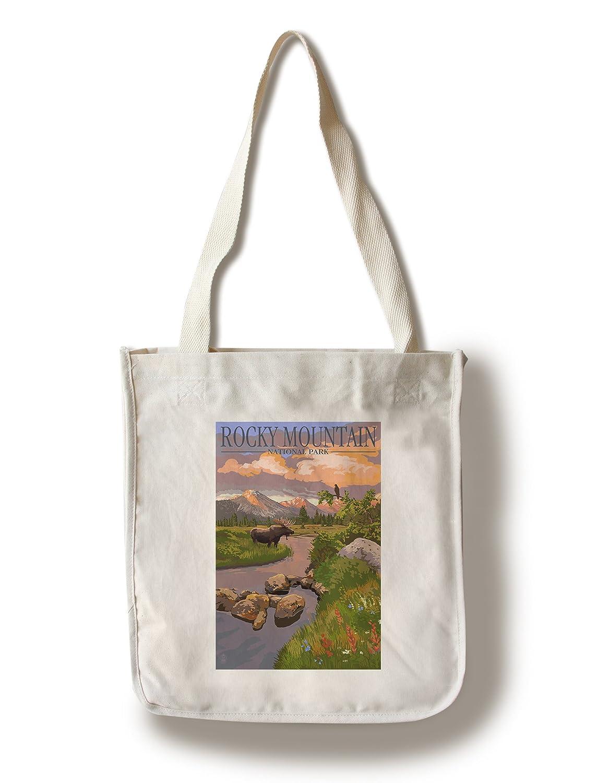 ムースand Meadow – ロッキーマウンテン国立公園 Canvas Tote Bag LANT-36922-TT B01841CMT8 Canvas Tote Bag