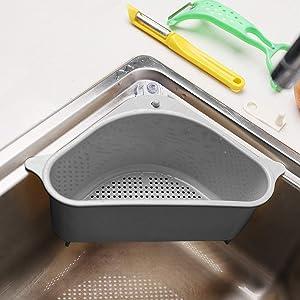 Sink Basket, Triangular Multifunctional Drain Shelf Sink Storage Rack Kitchen Sucker Storage Holder Bathroom Support Corner Hanging Shelf Soap Box Organizer (gray)