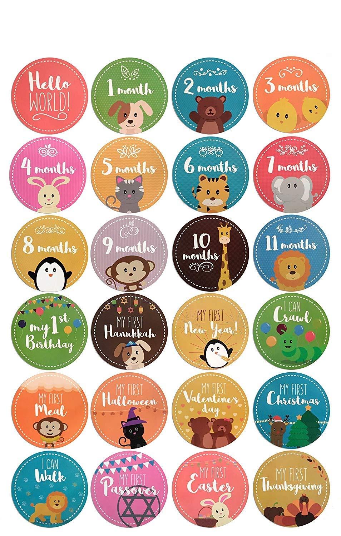 Baby Monthly Milestone Stickers Boy & Girl Onesie Memory Stickers 24 Pack Birth to 12 Months + 12 Bonus Achievement Unisex Belly Stickers Set & Holidays - CRUXEE Shower Gift Scrapbook Photo Keepsake
