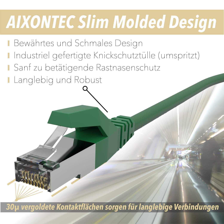 AIXONTEC 10m CAT 6 PiMF Netzwerkkabel in Deutschland produziert Ethernet Kabel gr/ün DSL Lankabel Gbits kompatibel zu CAT.5e // CAT.6 // CAT 6A CAT 7 RJ45 Patchkabel geschirmt