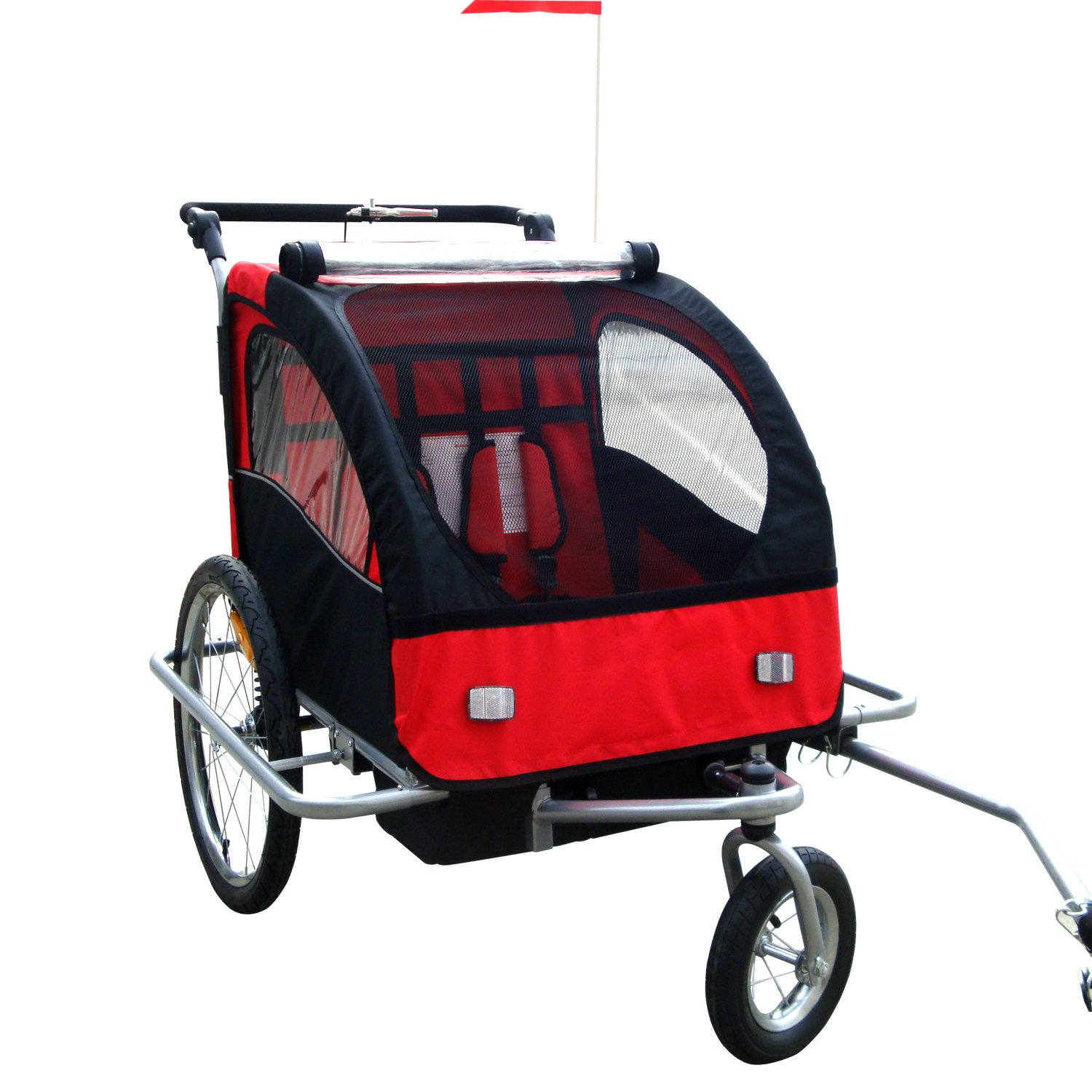 Tenive 2 in 1 Double Child Bicycle Trailer -4 Color Choice (Red)
