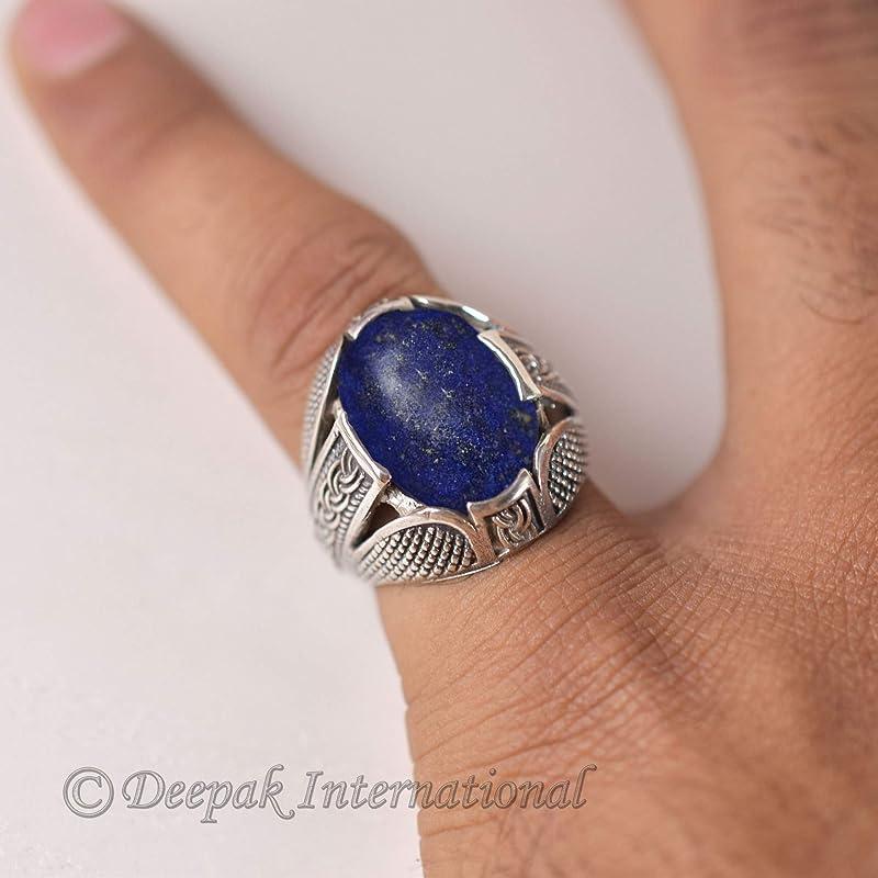 Lapis Statement Silver Ring Gift For Her Unisex Ring September Birthstone Ring Lapis Lazuli Ring Sterling Silver Ring Gemstone Ring