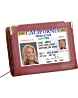 Zip Up Security I.D. Credit Card Case, Burgundy