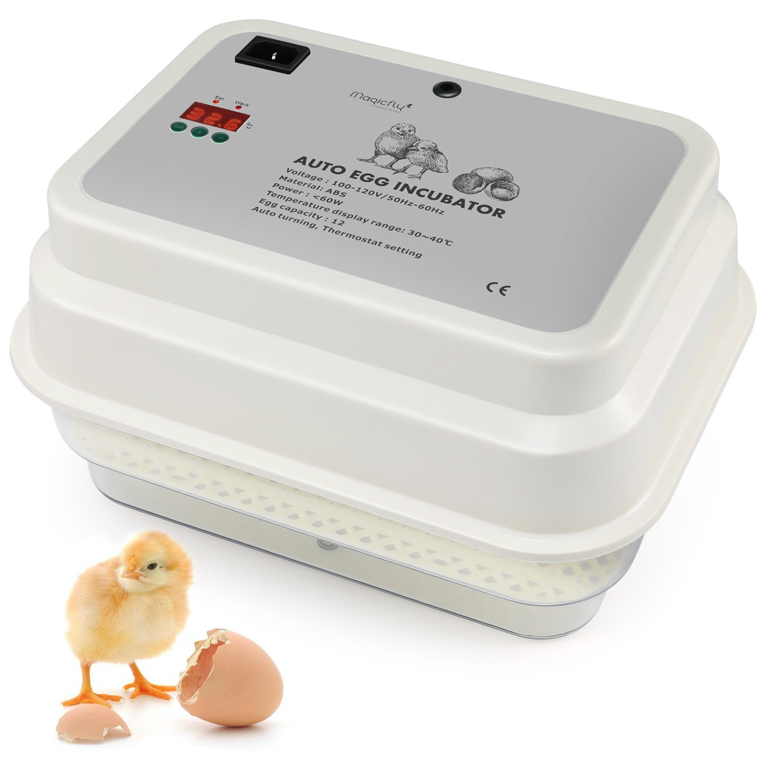 Magicfly Digital Fully Automatic Egg Incubator 9-12 Eggs, Upgrade Quality Poultry Hatcher for Chickens Ducks Goose Birds