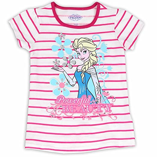 a1aacb762 Image Unavailable. Image not available for. Color: Disney Frozen Toddler  Girl's Powerful Beauty Pink Striped Short Sleeve T-Shirt