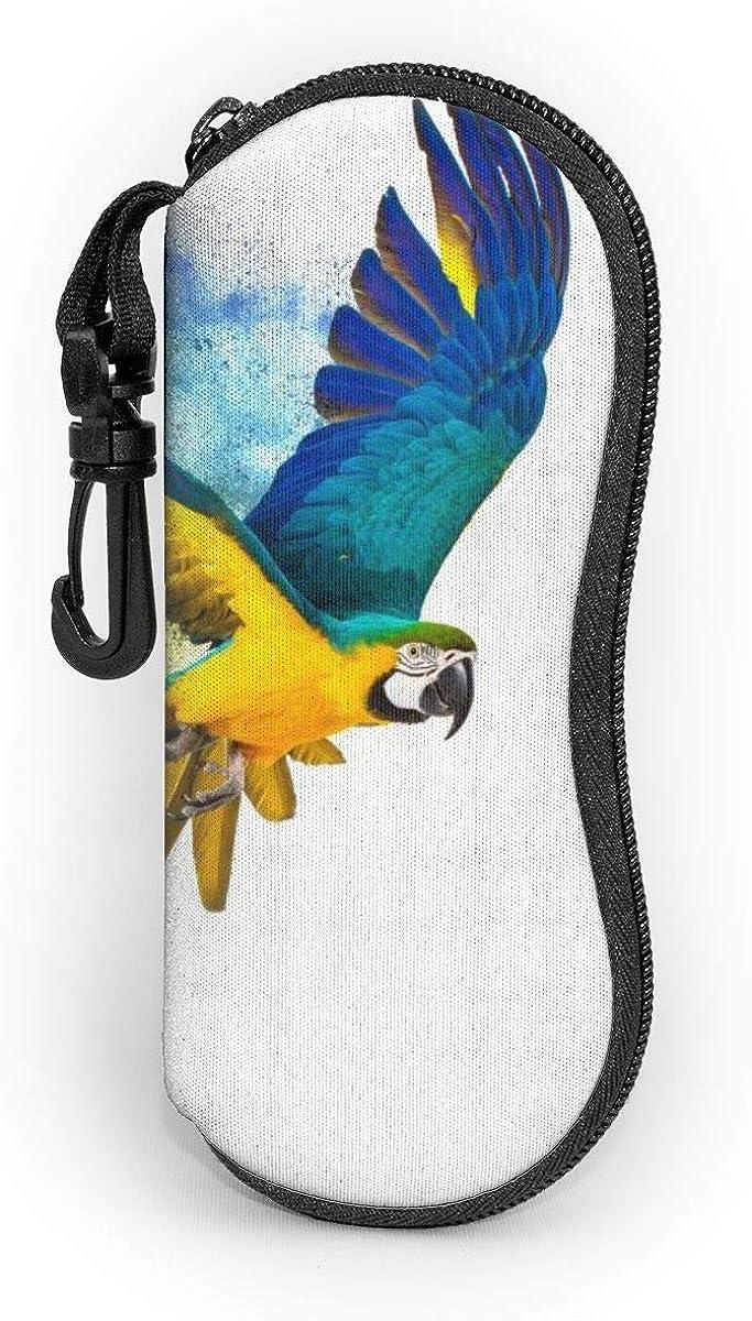 Ouzhou21 Bunter fliegender Papagei lokalisiert auf wei/ßem Sonnenbrille-Kasten-Brillen-Kasten-Glas-Kasten mit Karabiner-Kasten-Haken-weicher Kasten