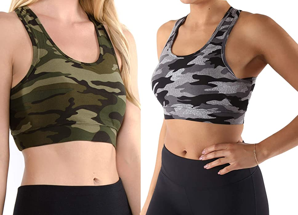 885c1b2a6ea0a Vibrant Vixen Women s Yoga Sports Tank-Top and Bra with Removable Pads  Camouflage Print Workout