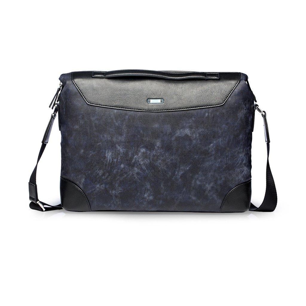 ZRO Men's Casual Travel Business Bag Leather camouflage Crossbody Shoulder Bag S Dark Blue