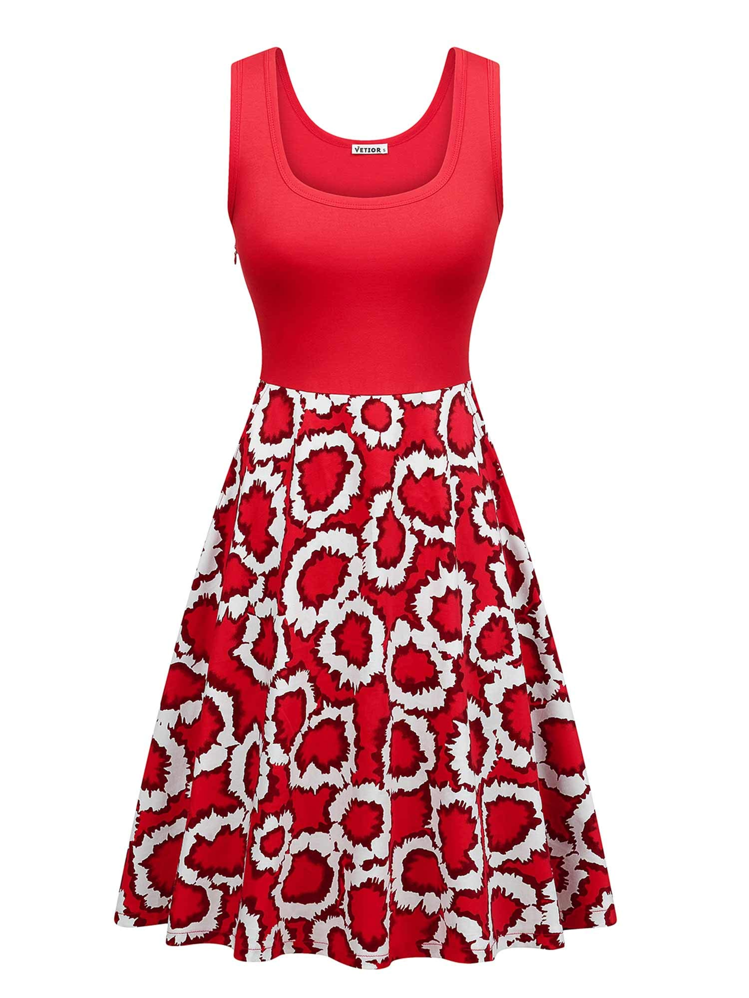 VETIOR Womens Vintage Scoop Neck Midi Dress Sleeveless A-line Cocktail Party Tank Dress