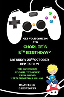 Personalised Gaming Party Invitations X10