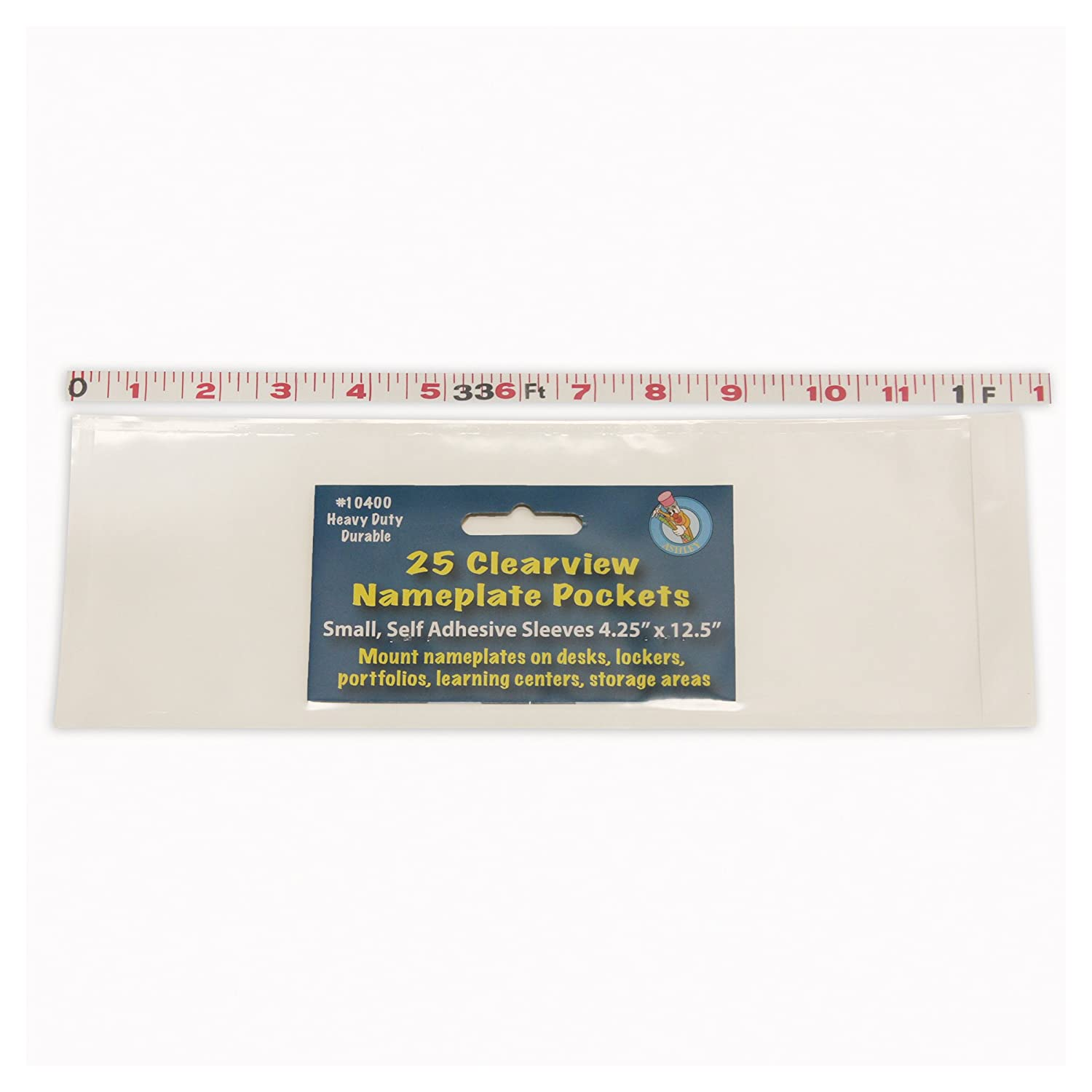 """Ashley Productions ASH10400 Name Plate Clear Pockets, 0.5"""" Height, 4.25"""" Wide, 12.5"""" Length, Small (25 per Package)"""