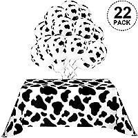 Mantel de Vaca para Fiesta, Incluye 2 Piezas Cubiertas de Mesa, 20 Piezas Globos de Vaca y 10 m Cinta Blanca Suministros…