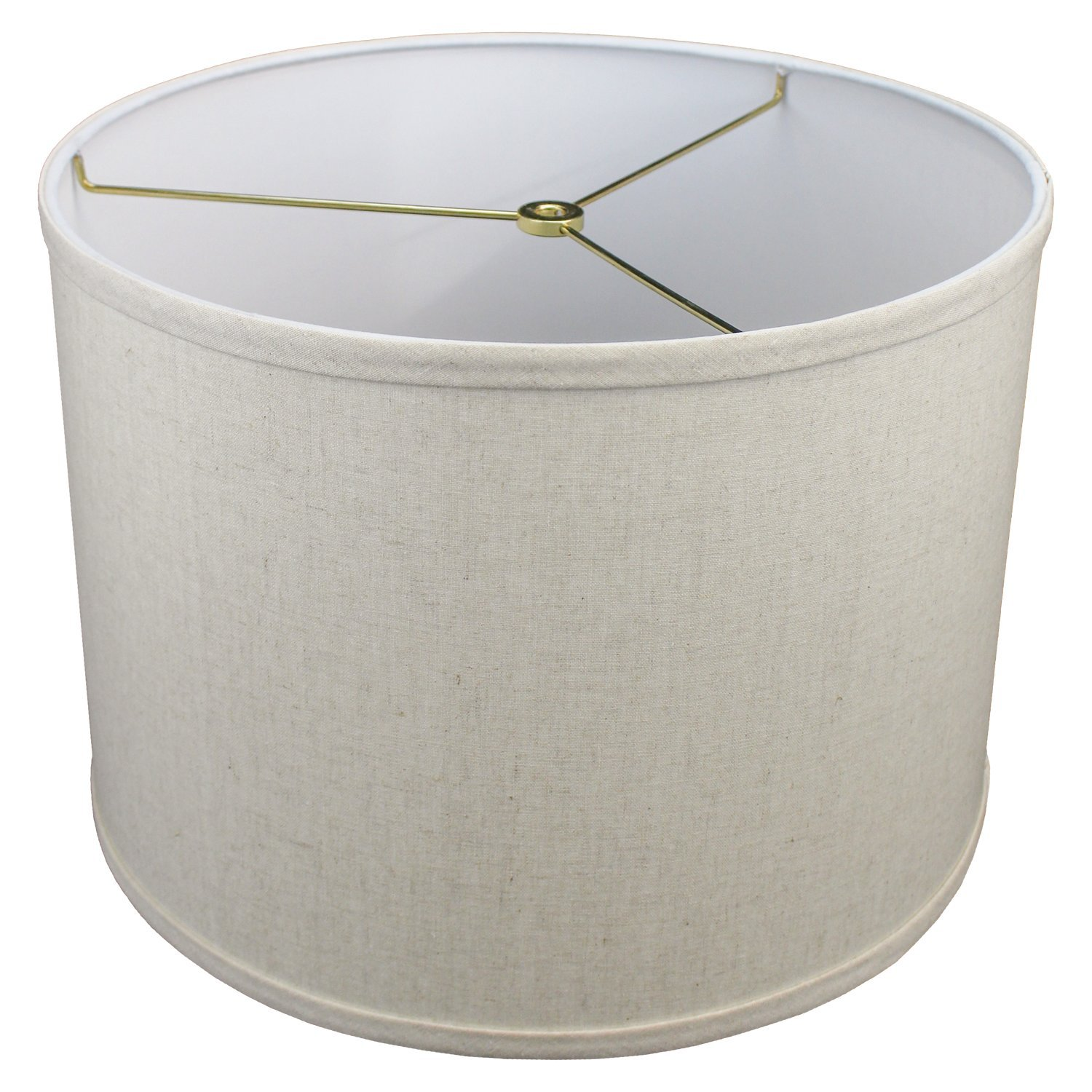 FenchelShades.com 14'' Top Diameter x 14'' Bottom Diameter 10'' Height Cylinder Drum Lampshade USA Made (Couture Natural) by FenchelShades.com