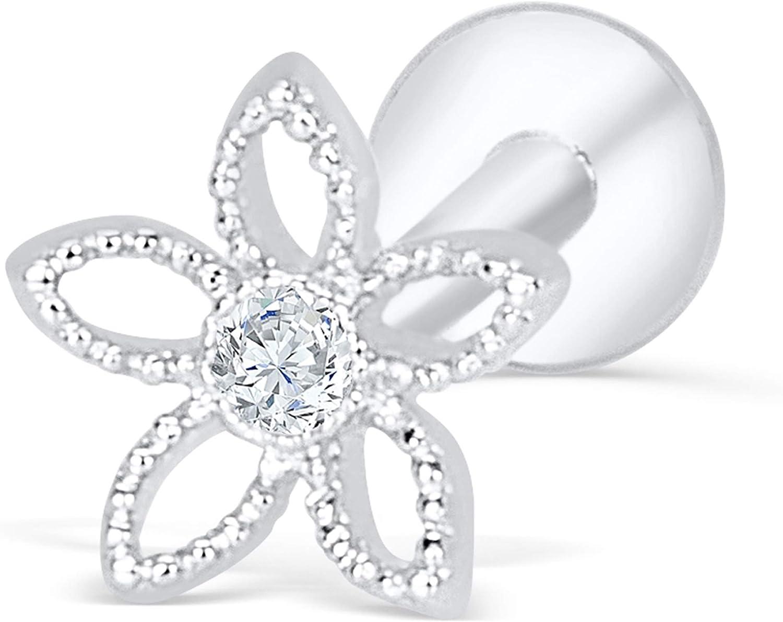 ONDAISY Cz Simulated Diamond 316 Surgical Stainless Steel Cute 16g Flower Star Ear 8mm Short Bar Labret Cartilage Tragus Helix Studs Post Earring Piercing Jewelry for Women Girls Men