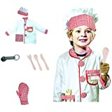 GradPlaza Children Chef Dress Up Cook Role Play Costume Set with Accessories