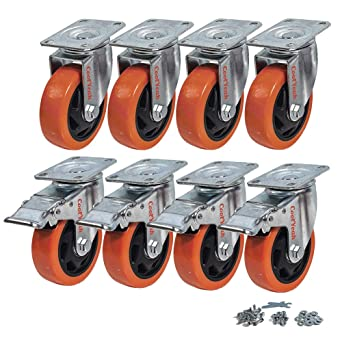 0193670ad077 CoolYeah 4 inch Swivel Plate Caster PVC Wheels, Industrial, Premium Heavy  Duty Casters (Pack of 8, 4 with Brake & 4 Without)