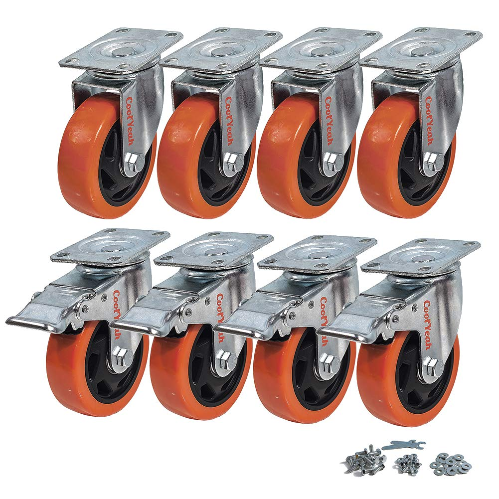 CoolYeah 4 inch Swivel Plate Caster PVC Wheels, Industrial, Premium Heavy Duty Casters (Pack of 8, 4 with Brake & 4 Without)