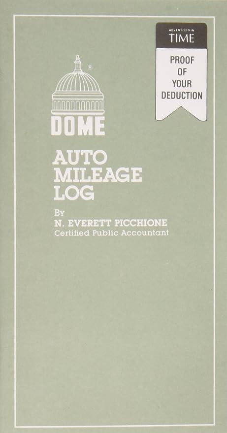 amazon com dome r auto mileage log card stock cover 3 1 4in x