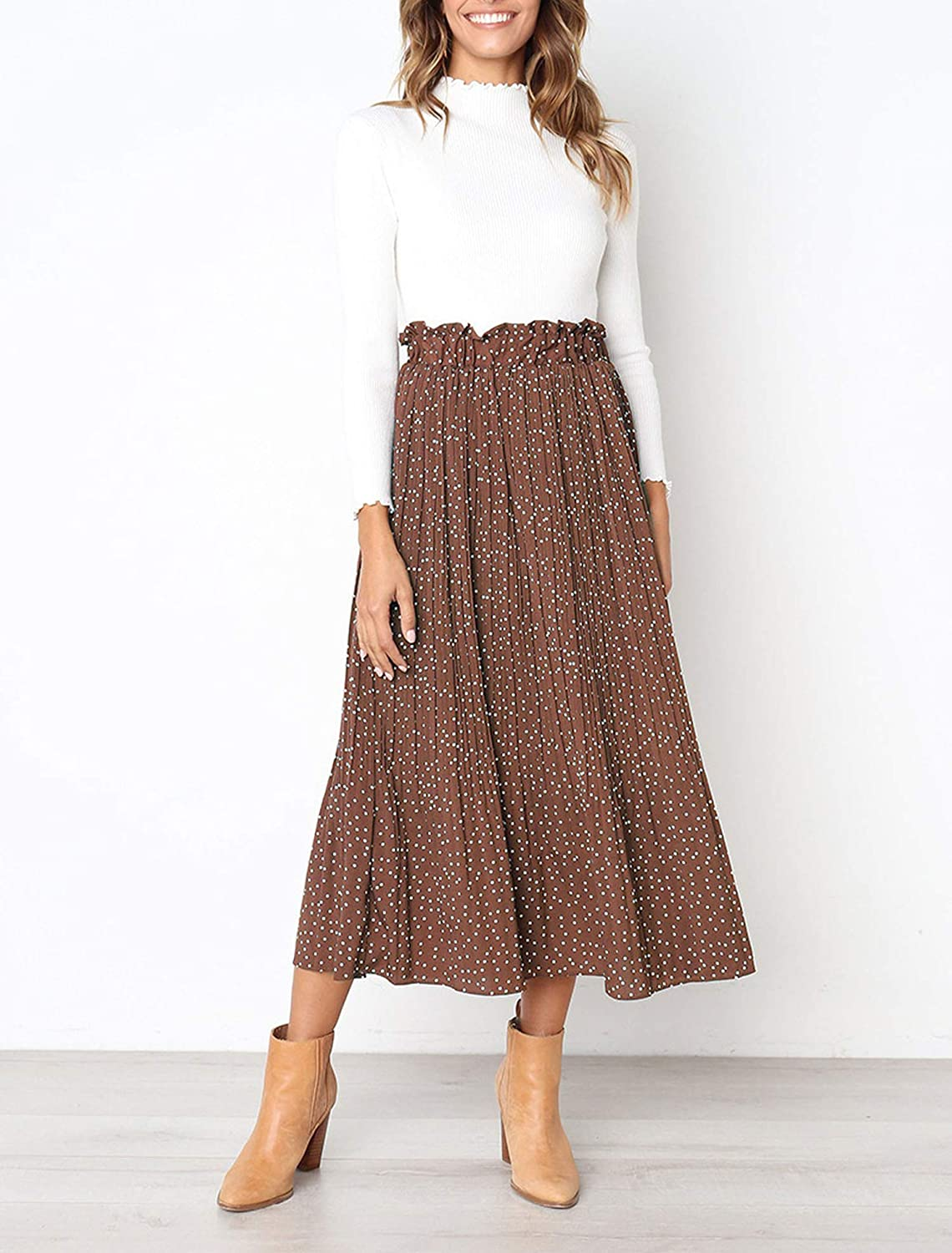 good quality entire collection classic fit Women Stylish Snake Print Pleated Long Skirt Drawstring Tie ...