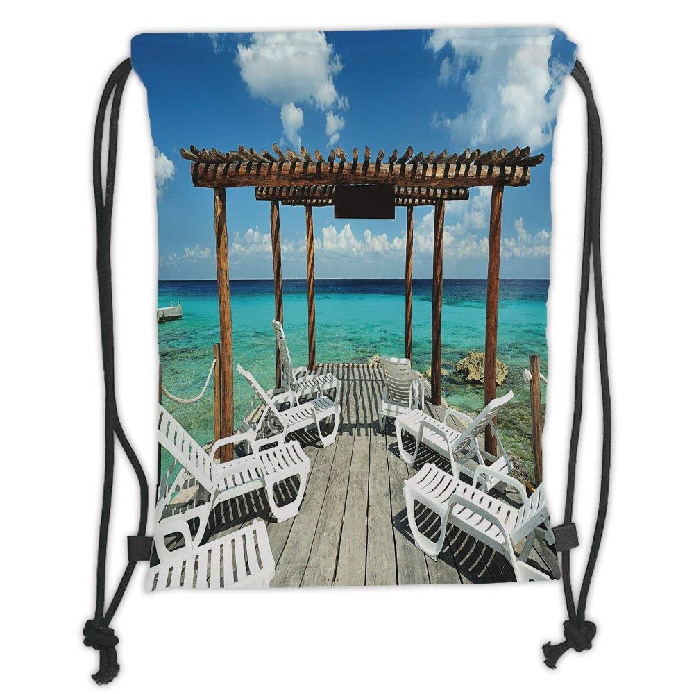 Fashion Printed Drawstring Backpacks Bags,Tropical Decor,Sunset ...