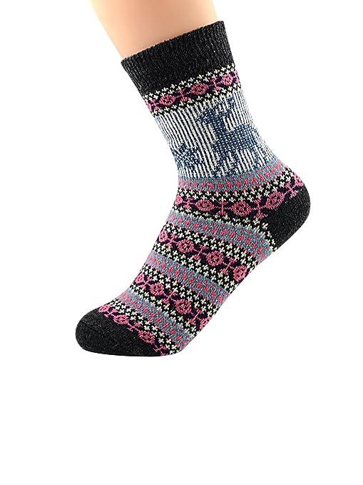 Zando Womens Vintage Casual grueso Lana para tejer calcetines invierno otoño caliente suave calcetines de algodón 5 Pack - - : Amazon.es: Ropa y accesorios
