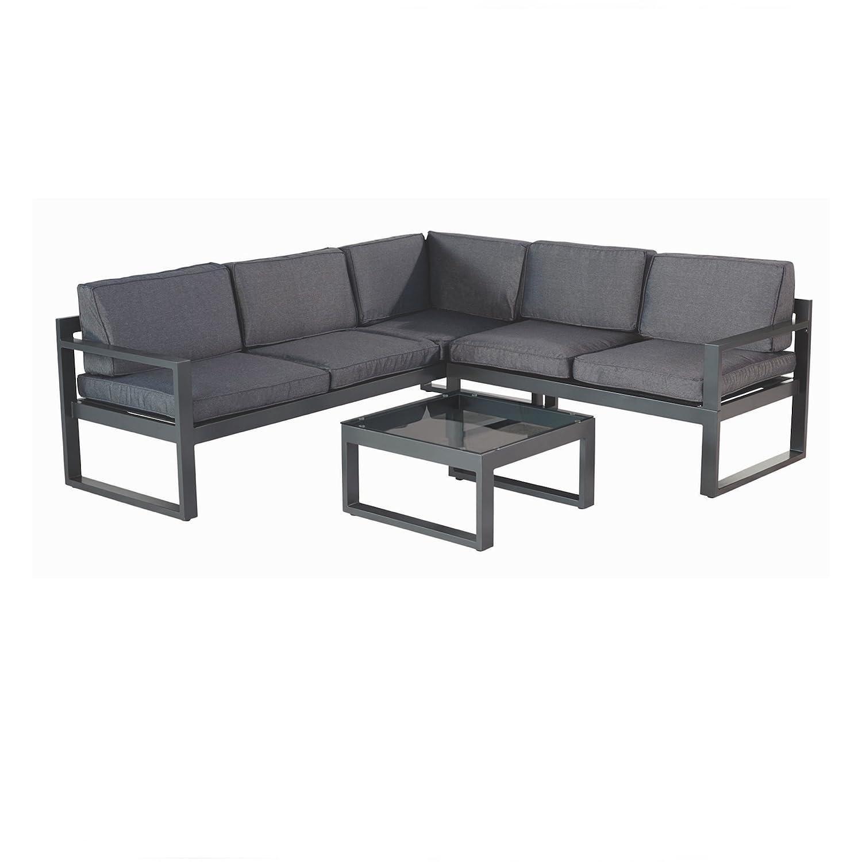 Hartman Perpignan Lounge 3teilig Aluminium xerix Sitzkissen grau Loungemöbel