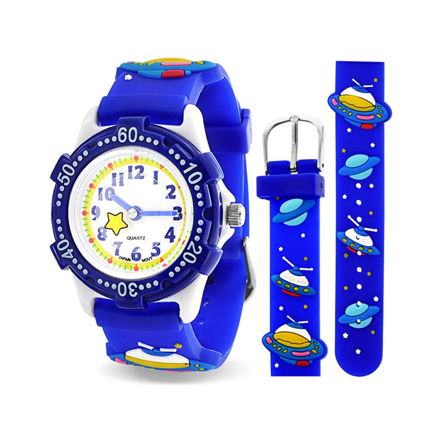 Blue Spaceship Planet Kids Watch Stainless Steel Back Analog