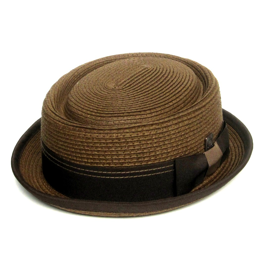 Dasmarca Mens Summer Paper Straw Telescope Crown Retro Porkpie Hat - Rico