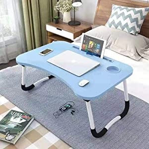 OPPIS Laptop Desk Bed Tray, Foldable Lap Desk Bed Table for Breakfast Serving, Notebook Table with Tablet Slots for Couch Floor for Adults/Students/Kids - Blue