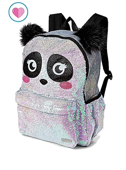 6a1f3eebbb Amazon.com  Justice Sparkle Panda Flip Sequin School Backpack  Toys ...