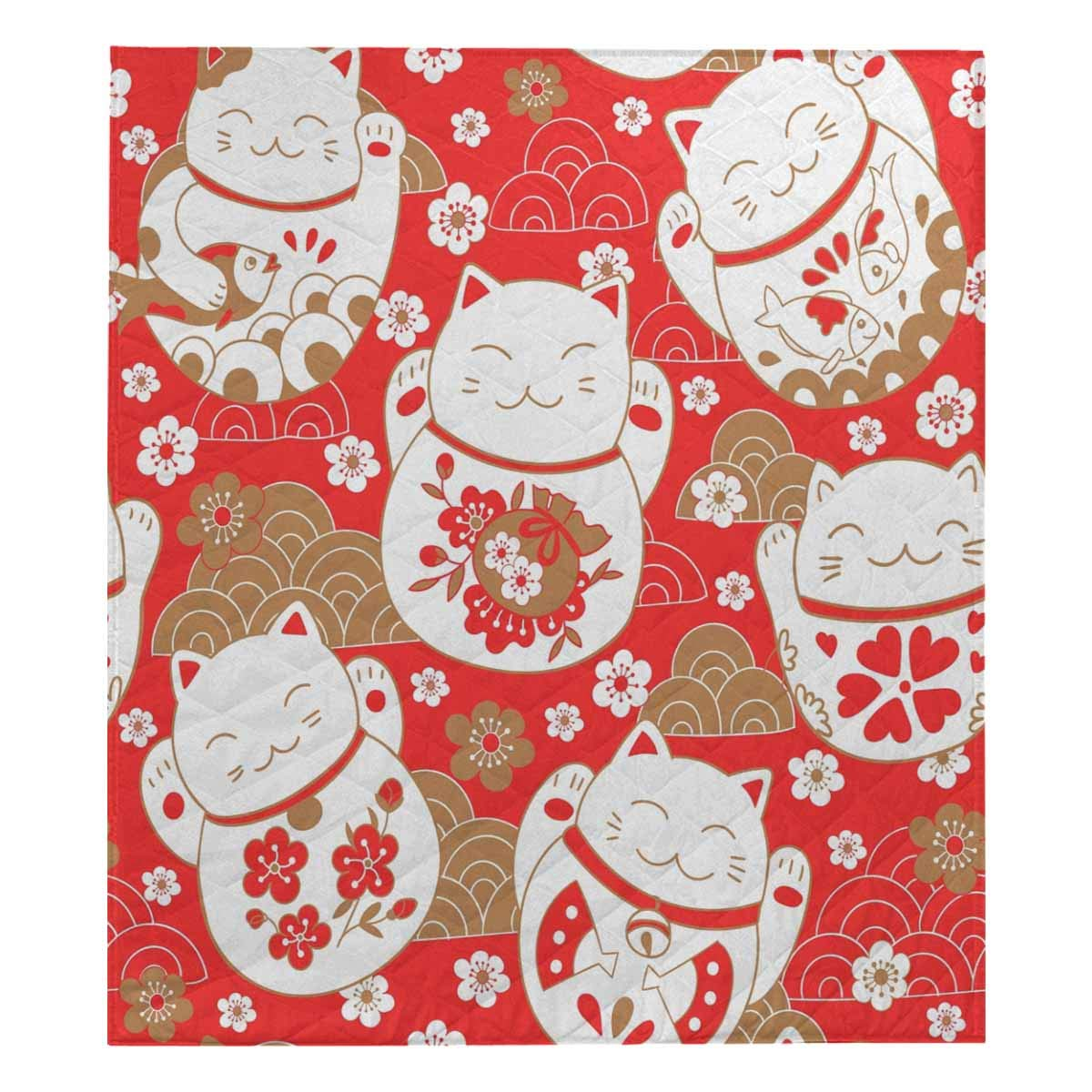 InterestPrint Cute Pattern with Cats, Lucky Charms, Maneki Neko, in Oriental Style Soft Premium Fabric Quilt Bedding Twin Size 80''
