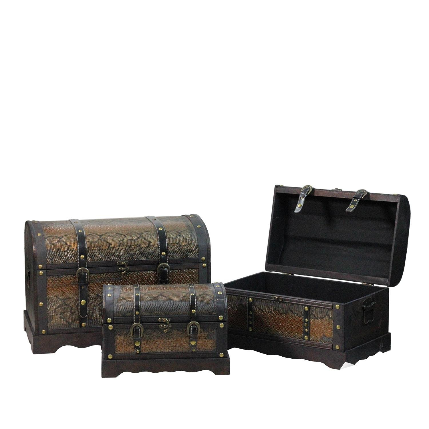 Northlight Set of 3 Decorative Wood and Faux Snakeskin Storage Boxes, 22.5'', Antique Brown