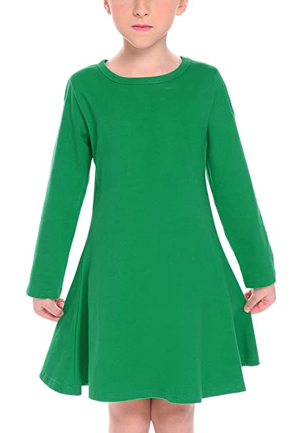 07f69cf4092 Arshiner Little Girls Dress Long Sleeve Solid Color Pullover Casual Shift  Dress Green